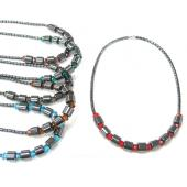 Hematite Beads with Crystal Glass Precious Stone Necklace