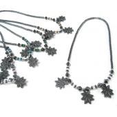 Maple Leaf Charm Hematite Pendant