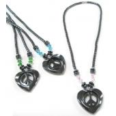 Assorted Color Glass Crystal Hematite Peace Sign in Heart  Stone Beads Strands Necklace