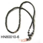 Millefiori Horn Pendant with Hematite Beads Stone Strands Necklace