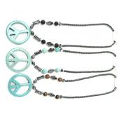 Assorted Color Semi-precious Stone with Big Turquoise Peace Sign Pendant Hematite Necklace