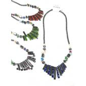 Assorted Colored Millefiori Glass Style Hematite Beads Stone Strands Necklace