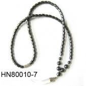Crystal Opal Beads Pendant Horn Shape with Hematite Beads Strands Necklace