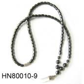 Clear Cat's Eye Opal Beads Pendant Horn Shape with Hematite Beads Strands Necklace