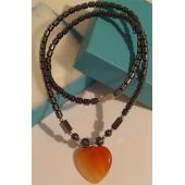 Agate Heart Pendant Chain Choker Fashion Necklace