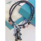 Pink Cat's Eye Opal Hematite Stone Penguin Pendant Chain Choker Fashion Necklace
