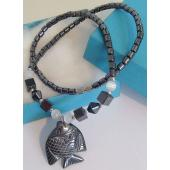Hematite Stone Goldfish Pendant Chain Choker Fashion Necklace
