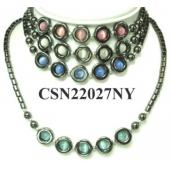 Assorted Color Cat's Eye Opal Beads Hematite Donut Pendant Chain Choker Fashion Necklace