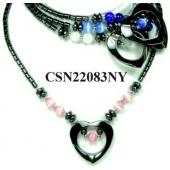 Assorted Color Cat's Eye Opal Beads Hematite Heart Pendant Chain Choker Fashion Necklace