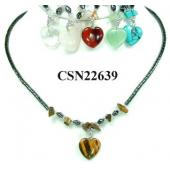 Semi precious Stone Heart Pendant Beads Chain Choker Fashion Women Necklace