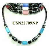 Assorted Opal Beads Hematite Chain Choker Fashion Women Necklace