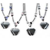 Cat's Eye Opal Hematite Stone Heart Pendant Beads Chain Choker Fashion Women Necklace