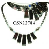 Assorted Opal Beads Hematite Choker Chunky bib Statement Necklace women Fashion Jewelry