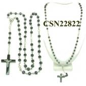 Hematite Cross with Jesus Beads Rosary Chain Necklace 20inch