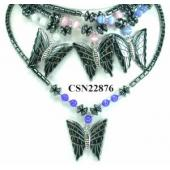 Cat's Eye Opal Hematite Stone Butterfly Pendant Beads Chain Choker Fashion Women Necklace