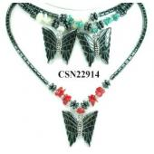Assorted Colored Stone Beads Hematite Butterfly Pendant Choker Collar Fashion Necklace