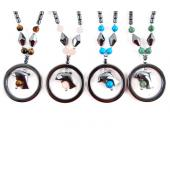 Semi precious Stone with Hematite Stone Beads Dophin Charm Choker Collar Pendant Necklace