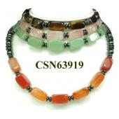 Semi precious Stone Beads String Strand Hematite Beads Choker Collar Necklace