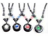 Colored Opal Beads Hematite Donut Pendant Beads Stone Chain Choker Fashion Women Necklace