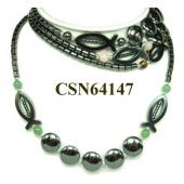 Colored Semi precious Stone Hematite Fish Pendant Chain Choker Fashion Necklace