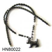 Hematite Puppy Pendant Beads Stone Chain Choker Fashion Women Necklace