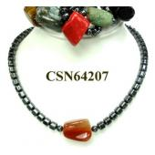 Colored Semi precious Stone Hematite Beads Chain Choker Fashion Necklace