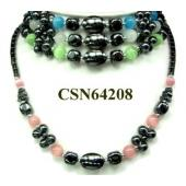 Colored Opal Beads Hematite Round Beads Stone Chain Choker Fashion Women Necklace