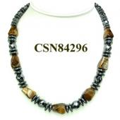 Tiger Eye Nugget and Hematite Disco Beads Stone Charms Choker Fashion Women Necklace