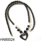 Hematite Heart Pendant Beads Stone Chain Choker Fashion Women Necklace