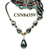 Assorted Semi precious Stone Hematite Tear Drop Pendant Beads Stone Chain Choker Fashion Women Necklace