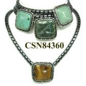 Assorted Semi precious Stone Pendant Hematite Beads Stone Chain Choker Fashion Women Necklace