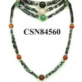 Assorted Colored Semi precious Stone Beads Hematite Cube Beads Stone Chain Choker Fashion Women Necklace