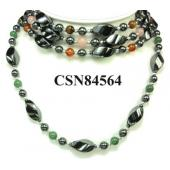 Assorted Colored Semi precious Stone Beads Hematite Peace Pendant Beads Stone Chain Choker Fashion Women Necklace