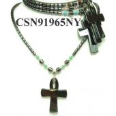 Hematite Cross Pendant Beads Stone Chain Choker Fashion Women Necklace