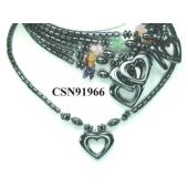 Semi precious Chip Beads Hematite Heart Pendant Beads Stone Chain Choker Fashion Women Necklace