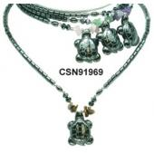 Semi precious Chip Beads Hematite Turtle Pendant Beads Stone Chain Choker Fashion Women Necklace