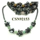 Assorted Colored Semi precious Stone Beads Hematite Chip Beads Stone Chain Choker Fashion Women Necklace