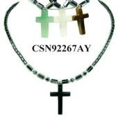 Semi precious Stone Cross Pendant Hematite Beads Stone Chain Choker Fashion Women Necklace