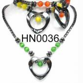 Colored Opal Beads Hematite Heart Pendant Beads Stone Chain Choker Fashion Women Necklace