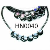 Colored Opal Beads Hematite Moon Pendant Beads Stone Chain Choker Fashion Women Necklace
