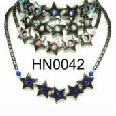 Colored Opal Beads Hematite Star Pendant Beads Stone Chain Choker Fashion Women Necklace