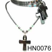 Colored Opal Beads Hematite Cross Pendant Beads Stone Chain Choker Fashion Women Necklace