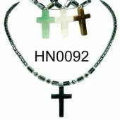 Assorted Cross Pendant Hematite Beads Stone Chain Choker Fashion Women Necklace