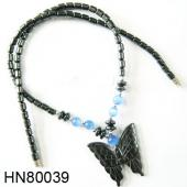 Assorted Colored Opal Beads Hematite Butterfly Pendant Beads Stone Chain Choker Fashion Women Necklace