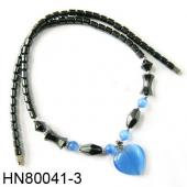 Assorted Colored Opal Pendant  Hematite Beads Stone Chain Choker Fashion Women Necklace