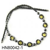 Assorted Colored Opal Beads Hematite Donut Beads Stone Chain Choker Fashion Women Necklace