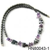 Amethyst Chip Stone Beads Hematite Beads Stone Chain Choker Fashion Women Necklace