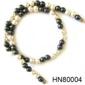 Magnetic Clasp Hematite Round Beads Stone Chain Choker Fashion Women Necklace