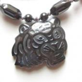 Hematite Tiger Face 30mm Pendant