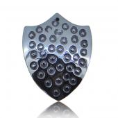 Hematite Dotted Shield 30x40mm Pendant